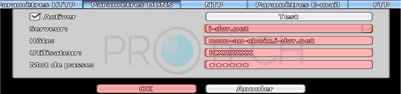 Paramètres DDNS Protech