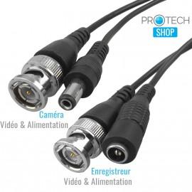Câble vidéo et courant pour vidéosurveillance 30m